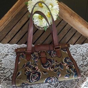 Fossil vintage floral tapestry shoulder handbag